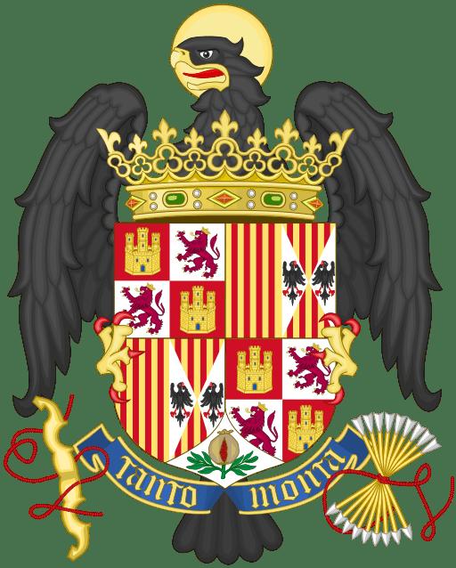 Coat of Arms of the Catholic Monarchs (Ferdinand and Isabel), 1492-1504 Menéndez-Pidal De Navascués, Faustino; El escudo; Menéndez Pidal y Navascués, Faustino; O´Donnell, Hugo; Lolo, Begoña. Símbolos de España. Madrid: Centro de Estudios Políticos y Constitucionales, 1999. ISBN 84-259-1074-9, pp. 175,176, graphic by Heralder (source/copyright information)
