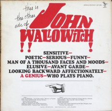 "Front and rear covers of ""This Is (The Other Side of) John Wallowitch"", 1965."