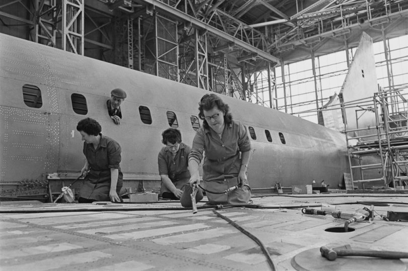 Cleaners at work on the prototype supersonic airliner Concorde 002, at the British Aircraft Corporation (BAC) works at Filton, Bristol, 30th January 1967. (Photo by Ron Moran/Daily Express/Hulton Archive/Getty Images)
