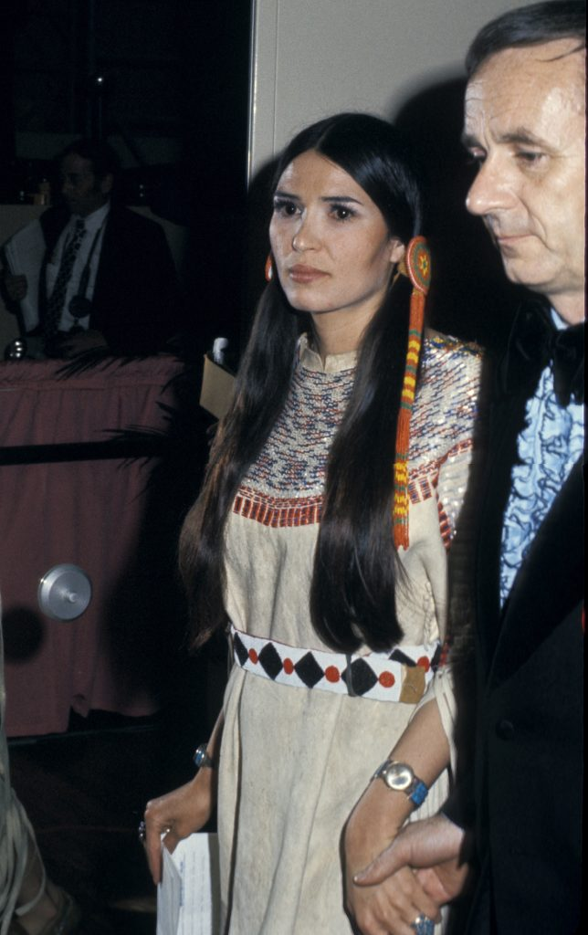 """Sacheen Littlefeather (Maria Cruz), who read a statement from Marlon Brando declining his Best Actor Academy Award for """"The Godfather"""" during the 45th Annual Academy Awards in Los Angeles, California. (Photo by Ron Galella/WireImage)"""