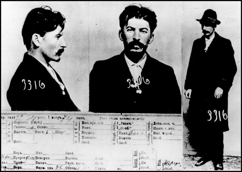 Mugshot of Jospef Stalin taken by the Tsarist Secret Police in Saint Petersberg, as Stalin was fighting the Russian government prior to the 1917 revolution. Dated 1911. (Photo by: Universal History Archive/UIG via Getty Images)