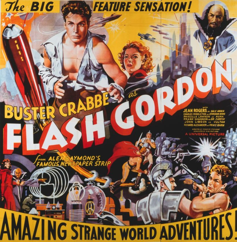 A poster for Frederick Stephani's 1936 action film 'Flash Gordon' starring Buster Crabbe, Jean Rogers, and Charles Middleton. (Photo by Movie Poster Image Art/Getty Images)