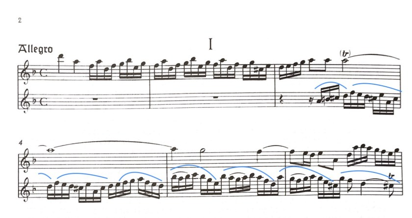 The Quantz passage with a different way of grouping notes - for interest and ease of learning.