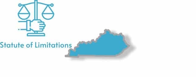 A stylized image of the state of Kentucky with the words statute of limitations overlaid on top of it