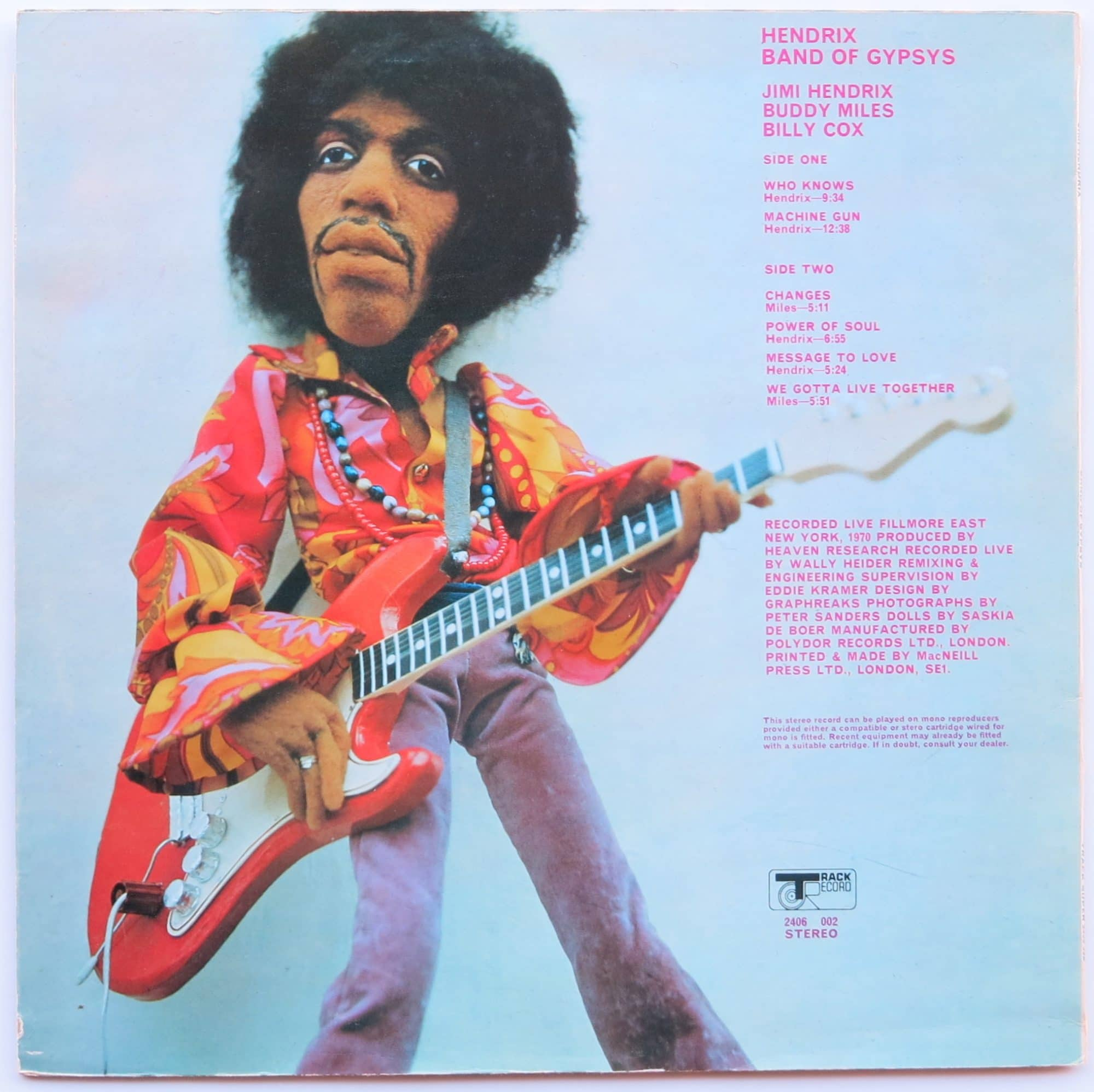 Jimi Hendrix Mint Uk Track Band Of Gypsys With Puppet