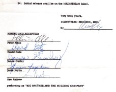 Janis Joplin – Signed First-Ever Recording Contract / With Big Brother & the Holding Company and Mainstream Records