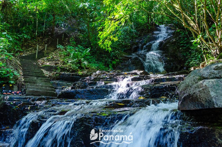 Path and waterfall to cross.