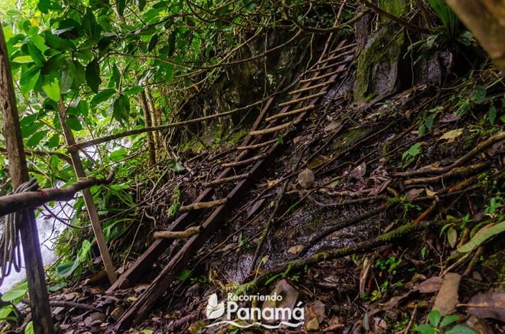 The ladder at La Gloria Waterfall