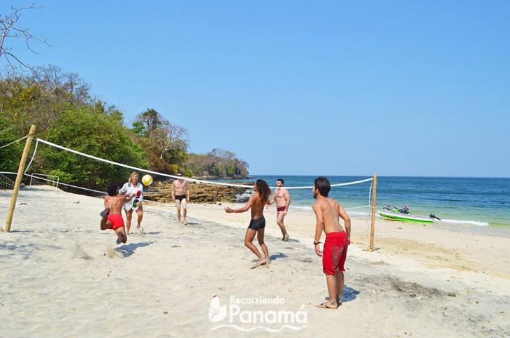 People enjoying beach games