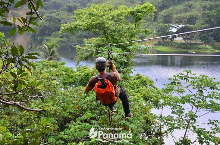 Josiah on one of the ziplines over Gatún lake