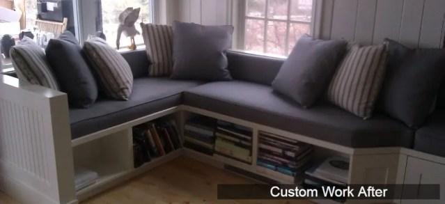 Custom padded window nook after installation