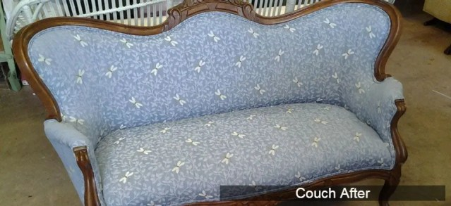 antique couch, reupholstered