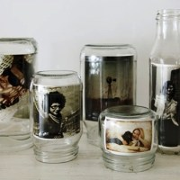 upcycled glass jar photo display