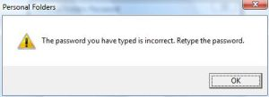 PST Password Incorrect