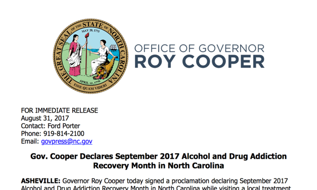 Governor Cooper Declares September Recovery Month