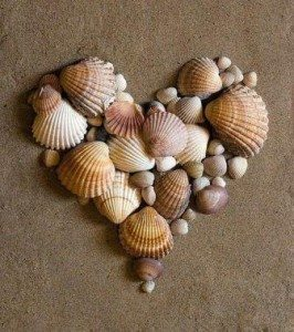 Seashells - heart - Recovery Warriors blog post Love Heals Pain