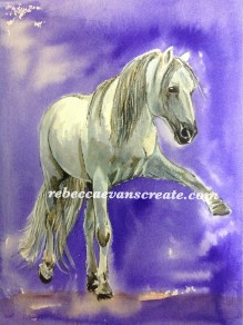 Ink and watercolour horse study, arches block A4