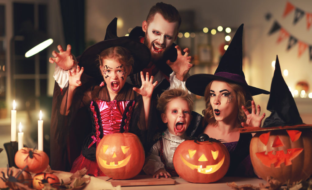 Family dressed up for Halloween.