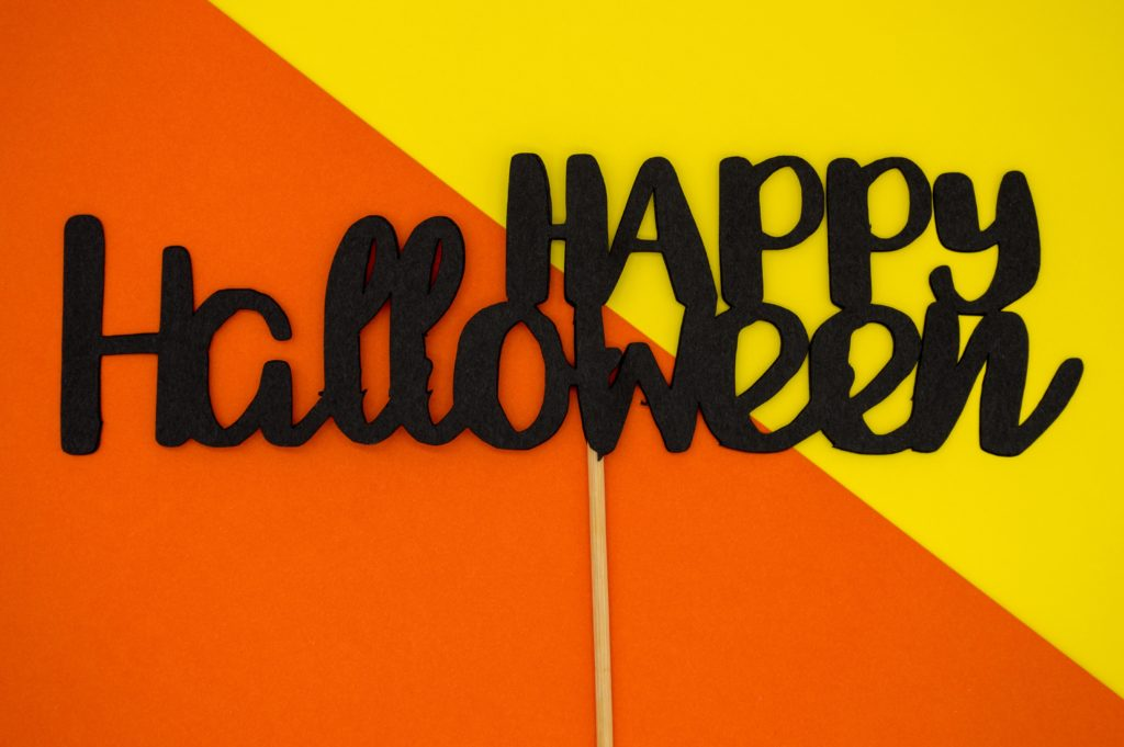 Colorful friendly Happy Halloween sign