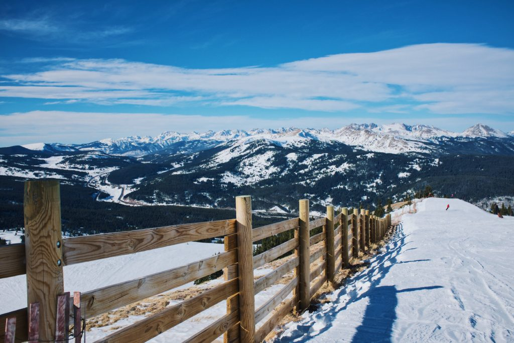 Breckenridge is one of the best RV destinations in December because of snow covered views like this.