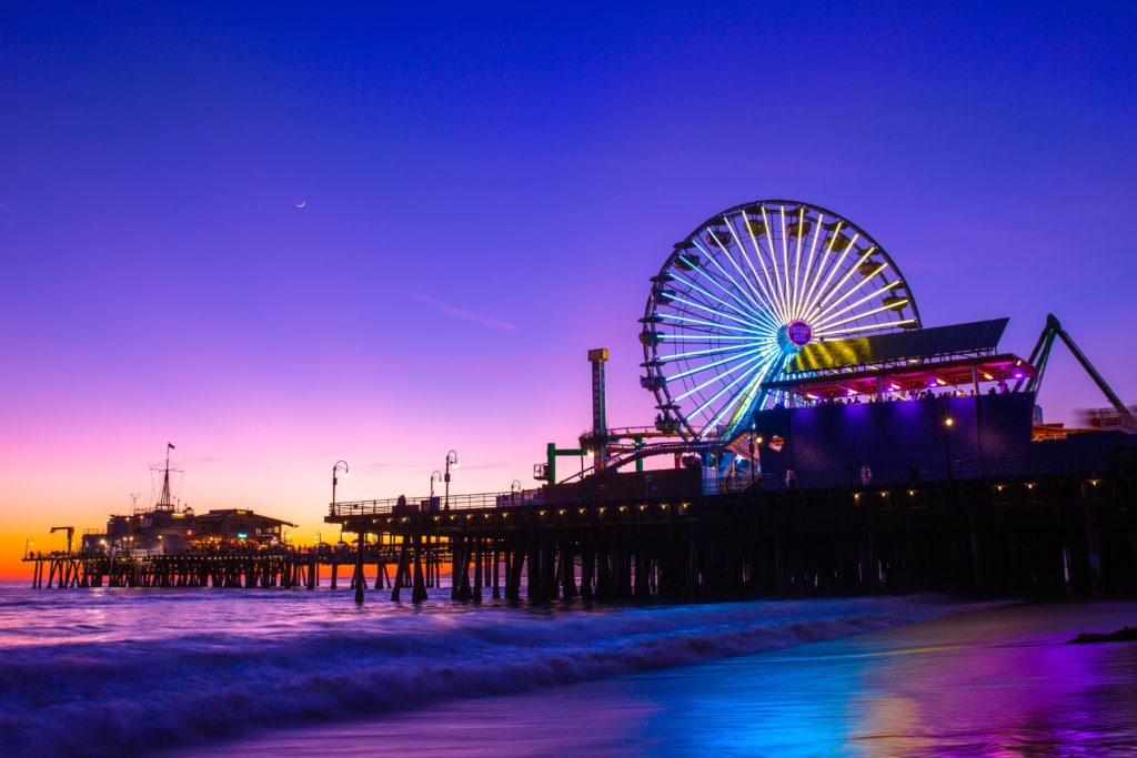 The Santa Monica Pier is beautiful at sunset, but it also is warm all December long - making it one of the best RV destinations during December.