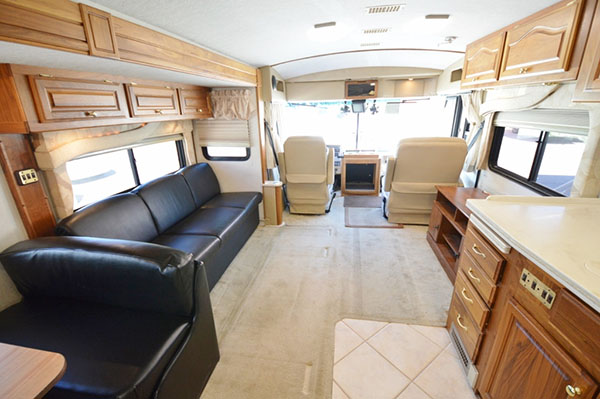 The inside of an used RV at a Utah RV Dealership