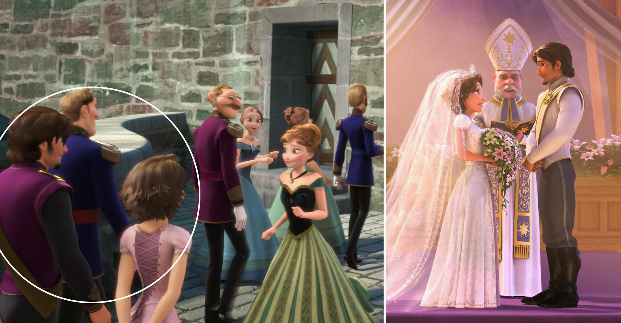 Rapunzel y Flynn en la escena de la coronación de Elsa en Frozen