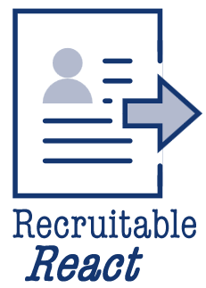 Recruitable React icon of resume with arrow pointing right