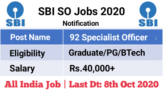 SBI SO Jobs 2020
