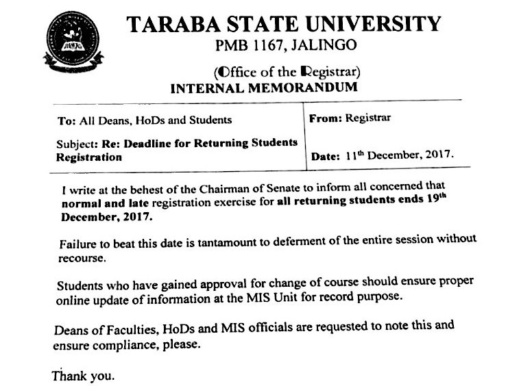 2017/2018 Admission List For Taraba State University is finally out for all to see for free
