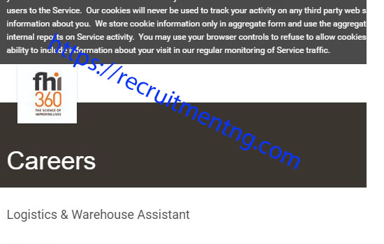 FHI 360 is recruiting for Logistics/Warehouse Assistant.