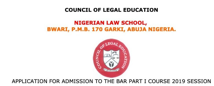 Nigerian Law School (NLS) Admission Application Form for 2019 Session Bar Part I Course