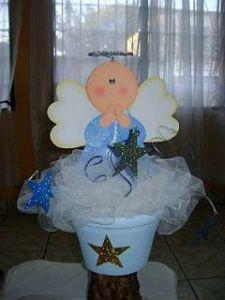 Angel centro de Mesa recuerdos de Bautizo para niño
