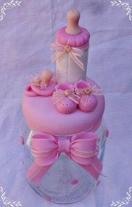 Recuerdos de Bautizo niña frasco rosa elegante con mamila migajon masa flexible