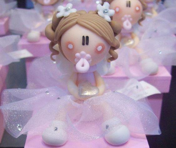 Recuerdos de Bautizo niña masa flexible migajon niña rosa hermoso