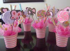 Recuerdos de Bautizo niña rosa dulcero centro de mesa