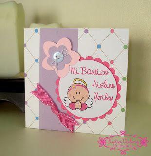 Recuerdos de Bautizo niña tarjeta con mensaje moño rosa colores verde y morado