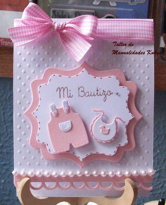 Recuerdos de Bautizo niña tarjeta elegante hermoso detalle perlas conpapel especial