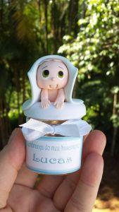 Recuerdos de Bautizo para niño Migajon, masa flexible, azul ojos niño.