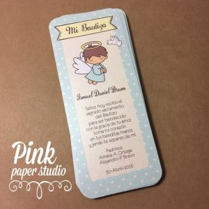 Recuerdos de Bautizo para niño azul tarjeta decorativa mensaje poema