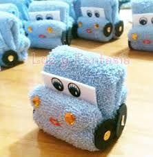 Recuerdos de Bautizo para niño azul tela carro