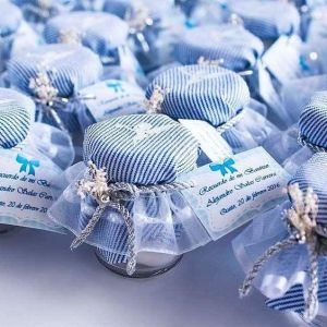 Recuerdos de Bautizo para niño botella cubierta azul