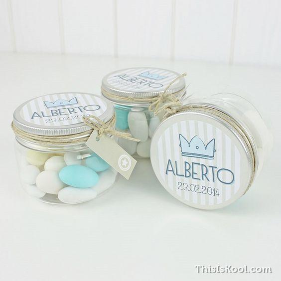 Recuerdos de Bautizo para niño frasco turquesa dulces