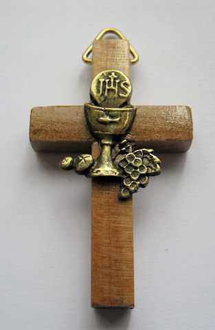 Recuerdos Comunión madera cruz caliz