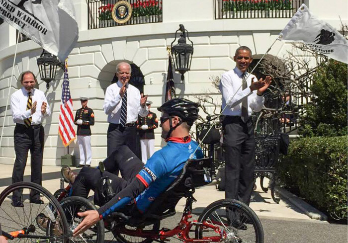 US soldier on recumbent trike at White House