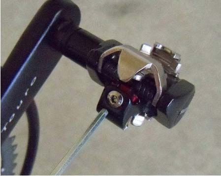 A hex-wrench is all you need for clipless pedals adjustment