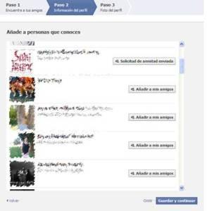 Lista de posibles conocidos durante el alta en facebook