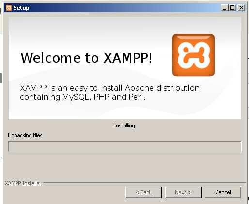 instalacion de Xampp- Progreso de la instalacion