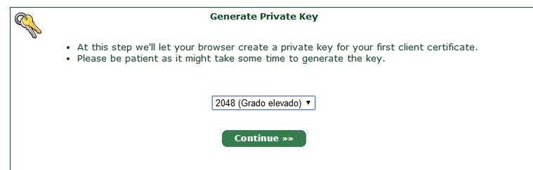 StartSSL Peticion para generar clave provada