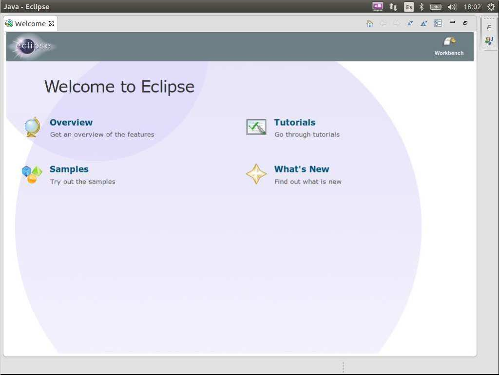 eclipse en ubuntu, pantalla de bienvenida